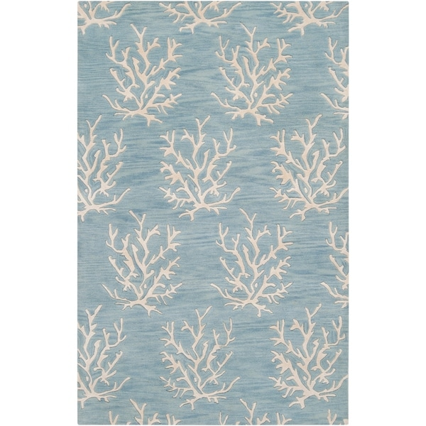 Hand Tufted Bacelot Bay Blue Beach Inspired Wool Area Rug 5 X27