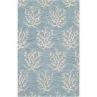 Hand-Tufted Bacelot Bay Blue Beach-Inspired Wool Area Rug - 5' x 8'