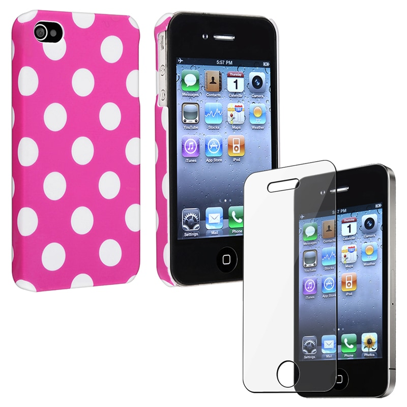 Two-Piece Set Pink With Dot Case/ Screen Protector for Apple iPhone 4/4S