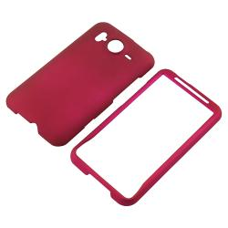 INSTEN Black/ Pink/ White Rubber Phone Case Cover/ Screen Protector for HTC Inspire 4G - Thumbnail 1