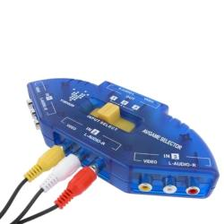 INSTEN 3-foot Blue/ Black 3 to 1 Composite AV Switch with RCA Cable