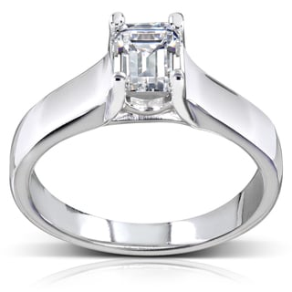 Annello by Kobelli 14k White Gold 1ct TDW Emerald Cut Solitaire Diamond Ring (H-I, SI1-SI