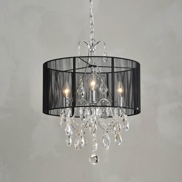 Maury Cotton Threads and Chrome Crystal Chandelier