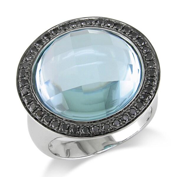 Miadora Signature Collection 14k White Gold 18ct Sky Blue Topaz and 1/3ct TDW Black Diamond Ring