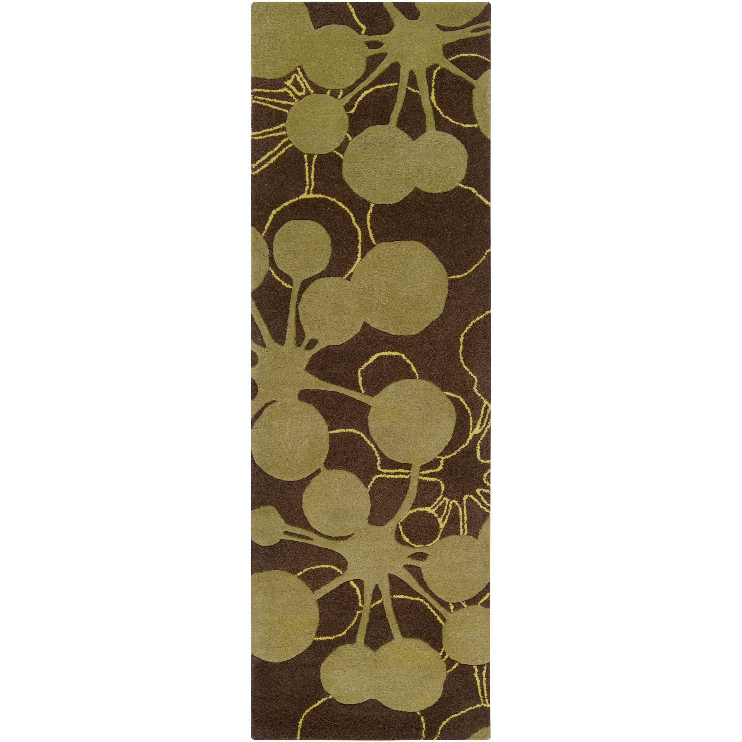 Jef Designs Hand-tufted Brown Torrent Geometric Wool Rug (2'6 x 8')