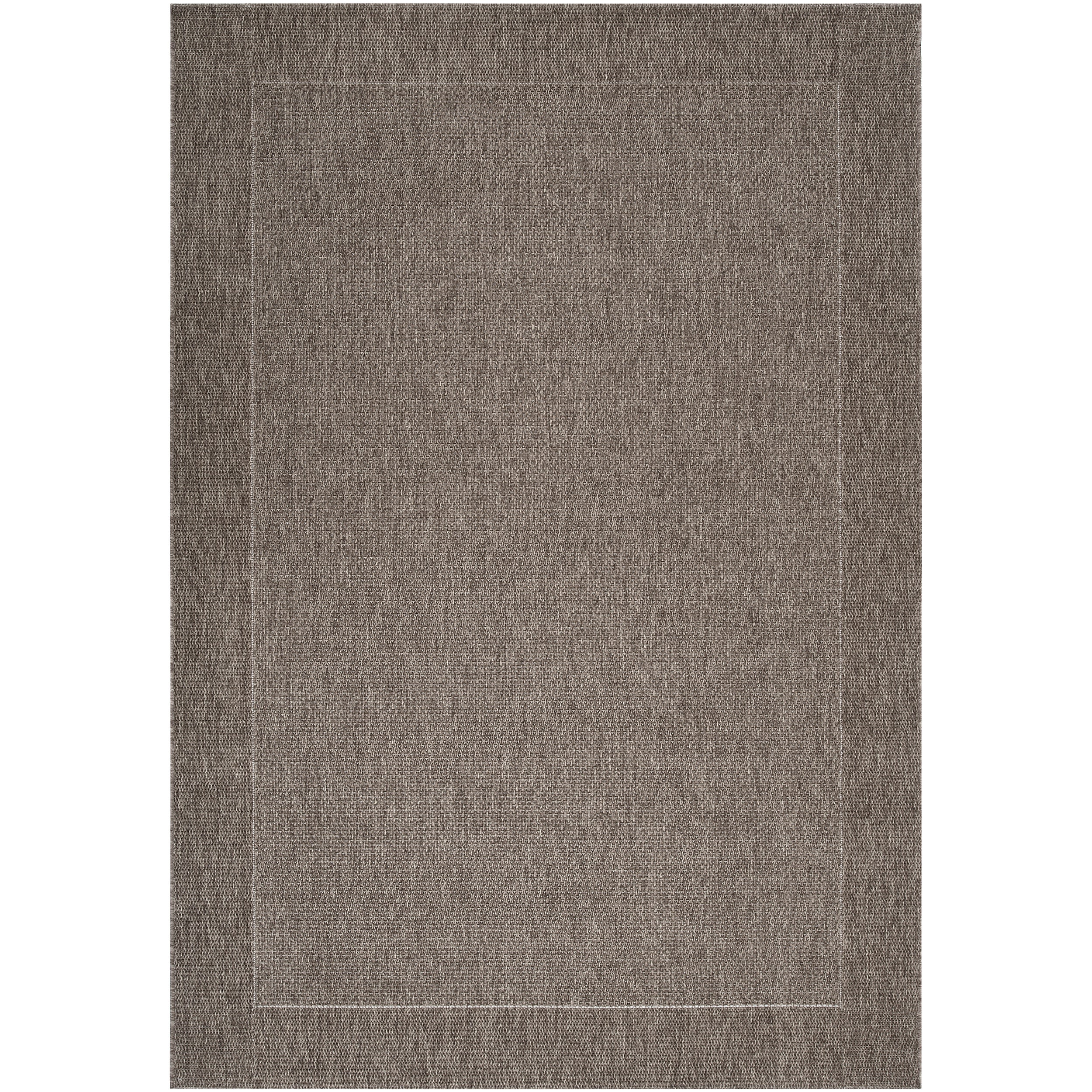 Woven Gray Indoor/Outdoor Border Rug (3'11 x 5'7)