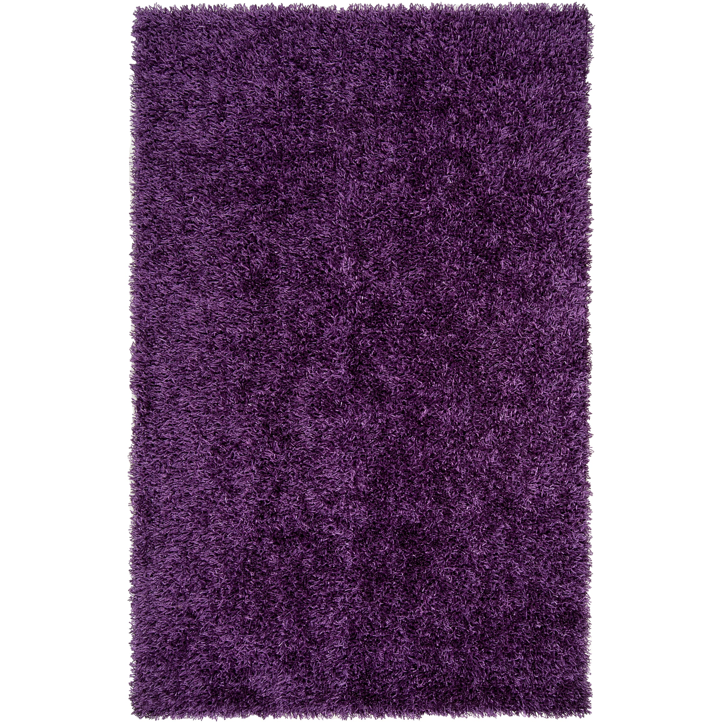 Hand-woven Purple Ferta Soft Shag Rug (5' x 8')