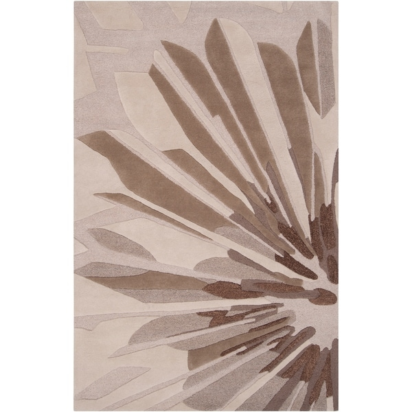 Hand-tufted Gray Cane Contemporary Floral Wool Area Rug - 9' x 13'