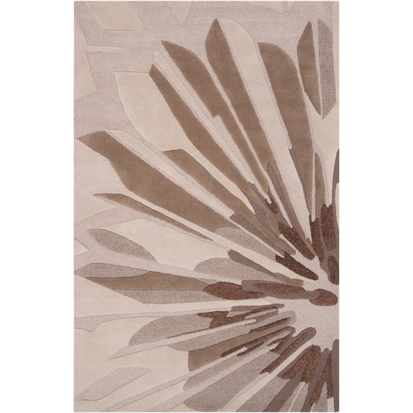 Hand-tufted Gray Cane Contemporary Floral Wool Area Rug (9' x 13')