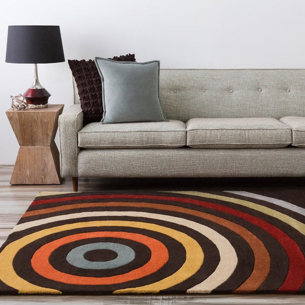 Hand-tufted Black Arima Bay Geometric Circles Wool Rug (6' x 9')