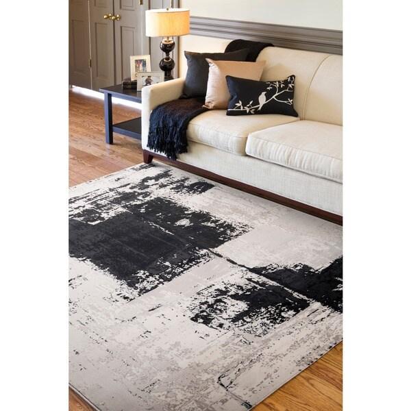 Woven Black Northeastern E Abstract Design Rug (5'3 x 7'3)