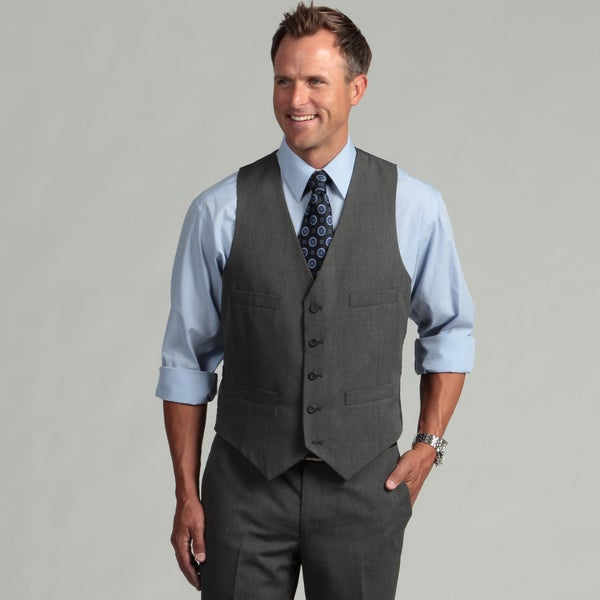Kenneth Cole Reaction Men's Slim Fit Black and White Suit Separate Vest