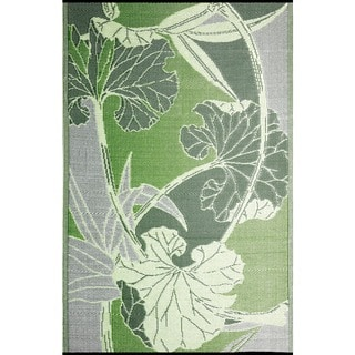 b.b.begonia Blossom Reversible Design Green and Grey Outdoor Area Mat (6' x 9')