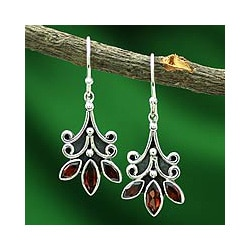 Sterling Silver 'Kerala Carnation' Garnet Flower Earrings (India)