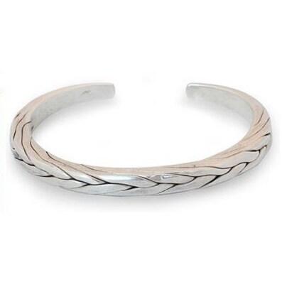 Handmade Mens Sterling Silver Hill Tribe Braid Thai Design Cuff Bracelet Thailand