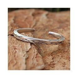 Handmade Mens Silver Hill Tribe Braid Thai Design Cuff Bracelet (Thailand)