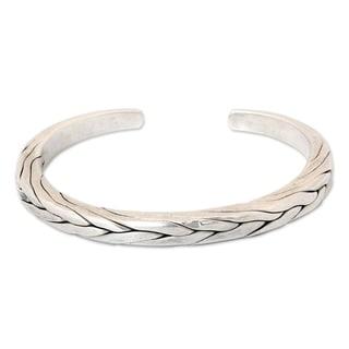 Handmade Mens Sterling Silver Hill Tribe Braid Thai Design Cuff Bracelet (Thailand)