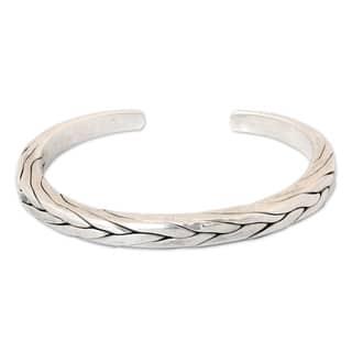 Handmade Mens Sterling Silver Hill Tribe Braid Thai Design Cuff Bracelet (Thailand)|https://ak1.ostkcdn.com/images/products/6751181/P14294484.jpg?impolicy=medium