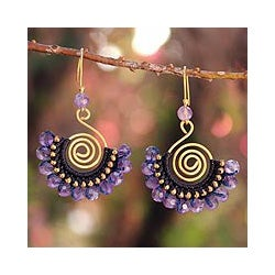 Gold Overlay and Brass 'Lilac Kiss' Amethyst Earrings (Thailand)