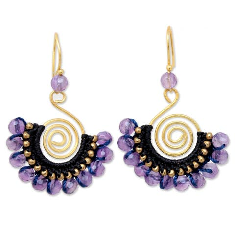Handmade Gold Overlay and Brass 'Lilac Kiss' Amethyst Earrings (Thailand)