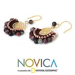 Gold Overlay and Brass 'Candy Kiss' Tourmaline Earrings (Thailand)