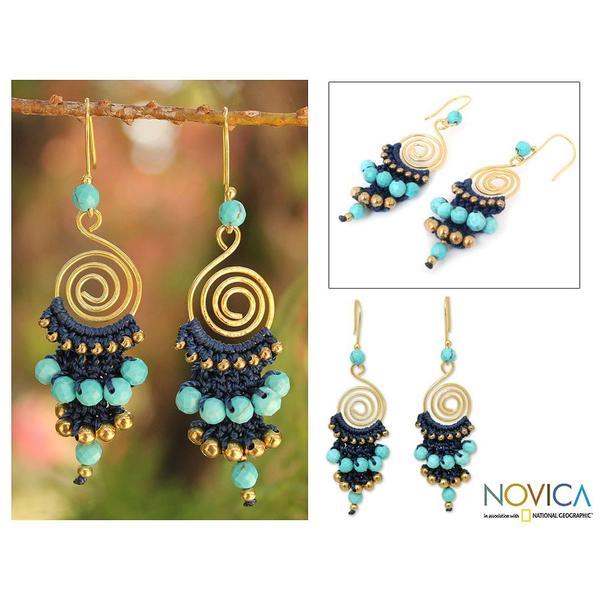 Handmade Gold Overlay and Brass 'Blue Spiral' Calcite Earrings (Thailand)