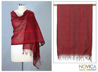 Cotton 'Scarlet Gujarat' Shawl (India)