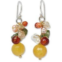 Handmade Sterling Silver 'Flow' Multi-gemstone Pearl Earrings (4 mm) (Thailand)