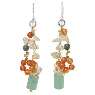 Handmade Sterling Silver 'Forest Love' Multi-gemstone Earrings (Thailand)