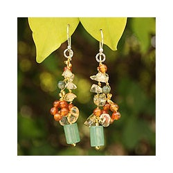 Sterling Silver 'Forest Love' Multi-gemstone Earrings (Thailand)