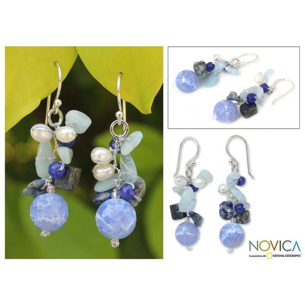 Handmade Sterling Silver Blue Multi-gemstone and 4mm Pearl Earrings (Thailand)