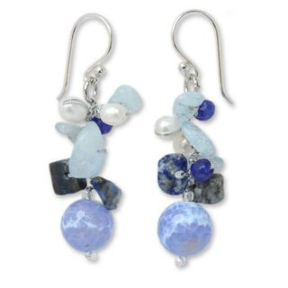"""NOVICA Handmade Sterling Silver Blue Multi-gemstone and 4mm Pearl Earrings (Thailand) - 1.8"""" L x 0.5"""" W. Opens flyout."""