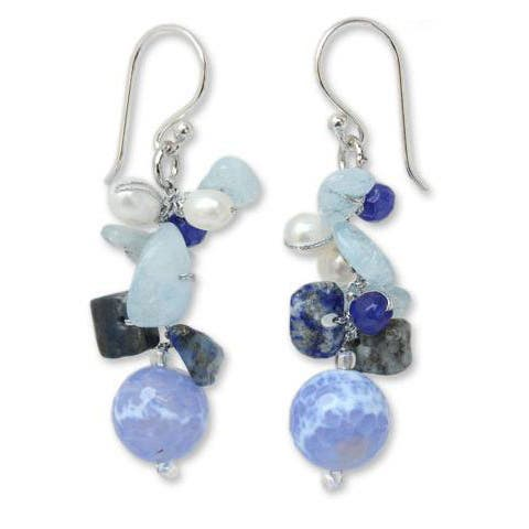 """Handmade Sterling Silver Blue Multi-gemstone and 4mm Pearl Earrings (Thailand) - 1.8"""" L x 0.5"""" W"""