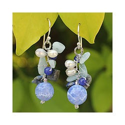 Handmade Sterling Silver Blue Multi-gemstone and 4mm Pearl Earrings (Thailand)