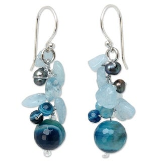 Handmade Sterling Silver 'Sing' Multi-gemstone Pearl Earrings (3 mm) (Thailand)