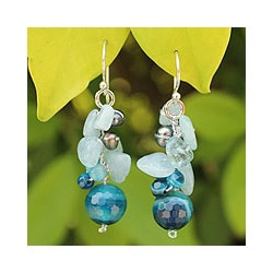 Sterling Silver 'Sing' Multi-gemstone Pearl Earrings (3 mm) (Thailand)