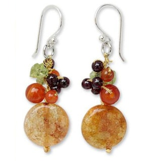 Handmade Sterling Silver 'Thai Joy' Multi-gemstone Earrings (Thailand)