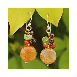 Sterling Silver 'Thai Joy' Multi-gemstone Earrings (Thailand)