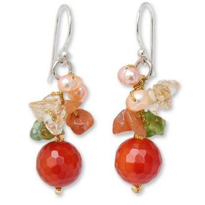 Handmade Sterling Silver 'Glow' Multi-gemstone Pearl Earrings (4 mm) (Thailand) - Orange