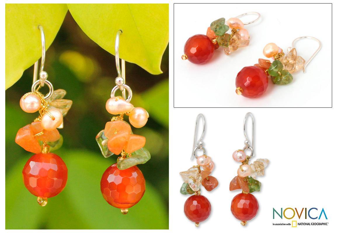 Handmade Sterling Silver 'Glow' Multi-gemstone Pearl Earrings (4 mm) (Thailand)