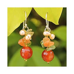 Handmade Sterling Silver 'Glow' Multi-gemstone Pearl Earrings (4 mm) (Thailand) https://ak1.ostkcdn.com/images/products/6751203/Sterling-Silver-Glow-Multi-gemstone-Pearl-Earrings-4-mm-Thailand-P14294504c.jpg?impolicy=medium