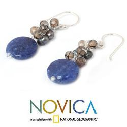 Handmade Sterling Silver Blue/ Brown Multi-gemstone and 4mm Pearl Earrings (Thailand) - Thumbnail 2