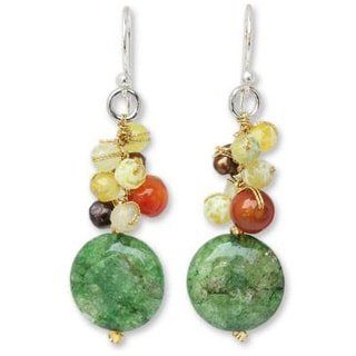 Handmade Sterling Silver 'Joy' Multi-gemstone Pearl Earrings 4 mm (Thailand)