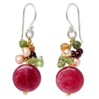 Handmade Sterling Silver Thai Multi-gemstone Freshwater Pearl Dangling Style Earrings (4 mm) (Tha (Thailand)