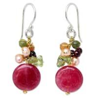 Handmade Sterling Silver Multi-gemstone Freshwater Pearl Dangling Style Earrings (4 mm) (Thailand) - Pink