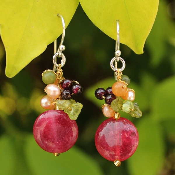 Handcrafted Sterling Silver Thai Multi-gemstone Freshwater Pearl Dangling Style Earrings (4 mm) (Thailand)