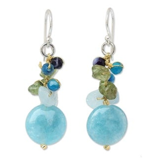 Handmade Sterling Silver Azure Joy Multi-gemstone Blue Beaded Earrings (Thailand)