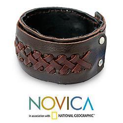 Leather Men's 'Riddle in Brown' Bracelet (Thailand)