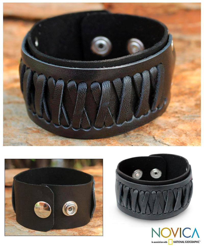 Leather Men's 'X Celebration' Bracelet (Thailand)