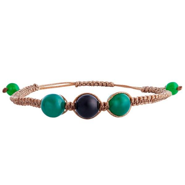 Handmade Onyx 'Protective Tranquility' Bracelet (India)